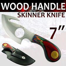 "7"" Pro Skinning Knife WOOD HANDLE Handle Hunting Knives Gut Hook Skinner SN04"
