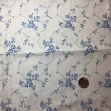 1/2 Yd White Cornflower Blue Calico Floral Quilting Fabric