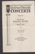 Ballet Russe de Monte Carlo 1939 Eastman Theatre Concerts Program