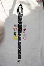 Cheshire Cat Alice in Wonderland lanyard plus 8 Disney trading pin lot NEW