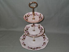 Duchess Bone China 3-Tier Cake Plate Stand Pink Bell Flower Pattern No.910