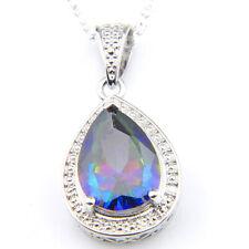 Gorgeous Teardrop Shaped Rainbow Mystical Fire Topaz Gem silver Necklace Pandant