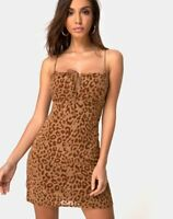 MOTEL ROCKS Kumin Dress in Animal Flock Tan Brown Size 2XS  XXS   (mr78)