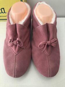 Daniel Green Vintage Womens House Shoe Slippers Leather Fuzzy Mauve B85