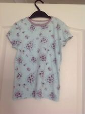 GIRLS  MINT GREEN FLORAL SHORT SLEEVED T-SHIRT BY TU AGE 6-7 YEARS 116-122 CMS