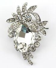 Designer Wedding Bridal Brooch Pin Clear Fancy Austrian Rhinestone Crystal