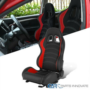 Driver Side Black/Red PVC Leather White Stitch Reclinable Racing Seat w/ Sliders