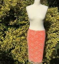Size 12 Orange Neon Lace Midi Skirt From F&F New With Tags