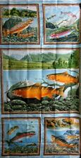 Elusive Catch Fabric Panel Fish Lake Outdoor Sport OOP South Seas Imports Cotton