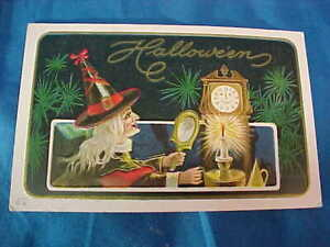Early 20thc HALLOWEEN Postcard WITCH w MIRROR-CANDLE + CLOCK