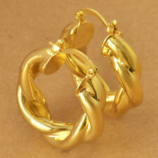 Amazing 9k Yellow Gold Filled Womens Hoop Earrings,NEW F5235