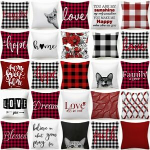 """Plaid PILLOW COVER Cushion Case White Red Buffalo Check Checkered 2-Sided 18x18"""""""