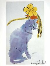 "Andy Warhol ""CAT WITH HAT"" Hand signed print with Gallery COA"