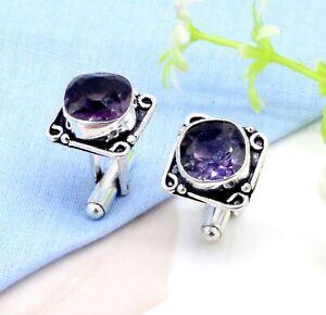 925 Sterling Silver Purple Amethyst Gemstone Handmade Jewelry Cufflinks Size-1