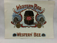 "Vintage Cigar Label Western Bee Saeger & Sons 8 1/2"" x 6 1/2"" Embossed Bee Hives"