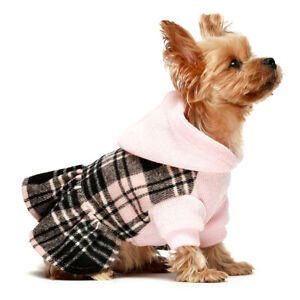 Fitwarm Pink Knitted Plaid Dog Dress Hoodie Sweatshirts Pet Clothes Sweater Coat
