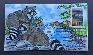 Ohio #3773 FDC, Kate Hayden cachet art, Raccoons on the Maumee River Bank