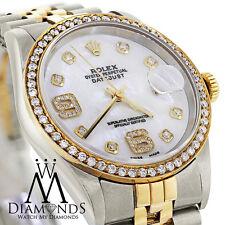Men's Rolex Datejust 2 Tone 36mm Diamond Bezel & Mother Of Pearl Diamond Dial