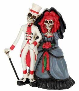 "Gothic Skeleton ""FOREVER BY YOUR SIDE"" Bride & Groom Skeleton Figurine"
