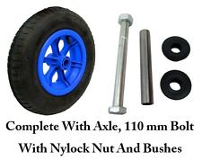 "BLUE SPOKED + AXLE  14"" Pneumatic Wheelbarrow Wheel Tyre 3.50 - 8 INNER TUBE"