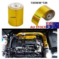 Car Turbo Exhaust Muffler Insulation Heat Shield Wrap Tape Gold 100mmx5m AU