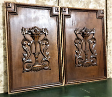 Pair scroll leaves wood carving panel antique french architectural salvage