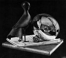 Still Life with Sphere by M. C. Escher Art Print Fantasy Weird Poster 21.75x25.5