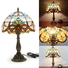 US Table Victorian Desk Lamp Light Lighting Stained Glass Shade Double Lit Home