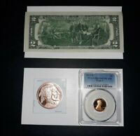 coin LOT graded proof penny 1 oz copper buffalo round $2 dollar  NO JUNK DRAWER