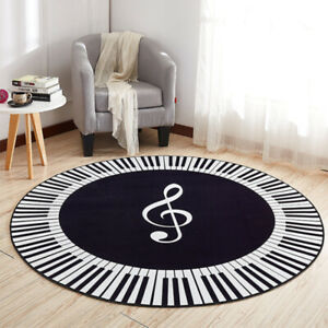 Music Symbol Piano Keys Black Round Carpet Anti Slip Rugs Home Bedroom Foot Pads