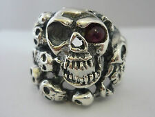 Impresionante Enorme Turmalina & STERLING SILVER ANILLO cráneo gótico para hombre-TAMAÑO X