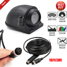 4 PIN 12-24V Side View Camera For Heavy Duty Truck Bus RV + 16Ft Extension Cable