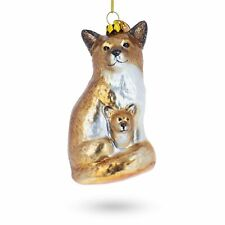 Mother and Baby Fox Glass Christmas Ornament