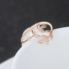 NEW Stylish 925 Sterling Rose Gold Abstract Vine Leave Adjustable Ring Size 3-5