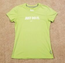 Nike Womens Lime Green Just Do It Dri-Fit Cotton Tee, Size Medium