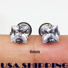 6mm Square Cubic Zirconia Stainless Steel Men Women Earrings Ear Screw Stud