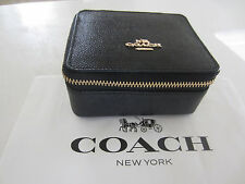 New Coach F66502 Leather Travel Jewelry/Cosmetic Case/Box Black $95