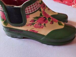 GIESWEIN Damen  KURZ GUMMISTIEFEL/ Stiefeletten nie getragen GR. 41 grün Rosen