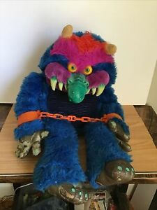 """Vintage 1986 My Pet Monster Blue Plush 26"""" With Handcuffs"""
