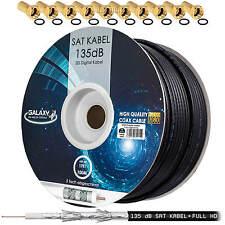 135dB 100m SAT Koaxial Antennenkabel Stahl Kupfer Schwarz 5-fach FULL HDTV 3D 4K