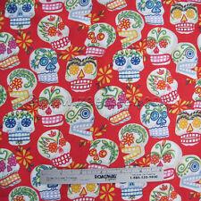 Alexander Henry MINI CALAVERAS Sugar SKULLS Red Cotton Quilt Fabric by YARD