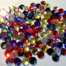 50 x MIXED COLOUR - round flat mirror back rhinestone gems 6mm wide