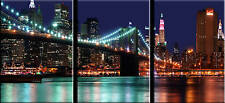 EXTRA LARGE XL CITY CANVAS PICTURE NEW YORK 3 SET 42""