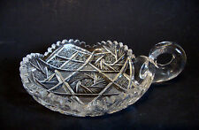 Bohemian Cut Glass Candy Dish/Candle Holder with Handle Ring Etched Designed