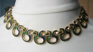 Vintage Sphinx 1980s Blue Green Enamel Collar Necklace
