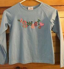 "Hanna Andersson ""Sweet"" Shirt Girls Blue Long Sleeve Top Size 140 10-12"