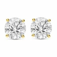 0.20 CTW ROUND CUT NATURAL DIAMONDS STUD EARRINGS 14K YELLOW GOLD $200 Value