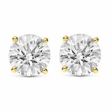 0.70 CTW ROUND CUT NATURAL DIAMONDS STUD EARRINGS 14K YELLOW GOLD $750 Value
