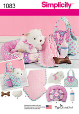 Simplicity SEWING PATTERN 1083 Stuffed Toy Puppy & Accessories-Carrier,Bed etc