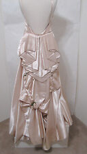 Vintage Peach Spaghetti Strap Satin Silk Ruched Cascading Rose Bud Trim Gown S